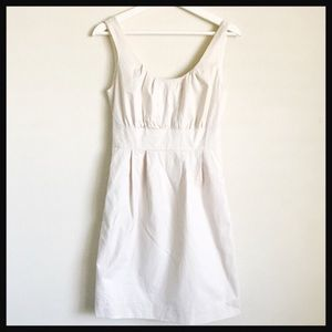 J. CREW | pleated cream sleeveless shift dress